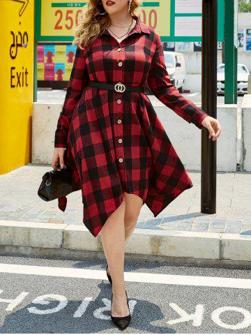 Plus Size Plaid Handkerchief Roll Tab Sleeve Shirt Dress - RED - 4X