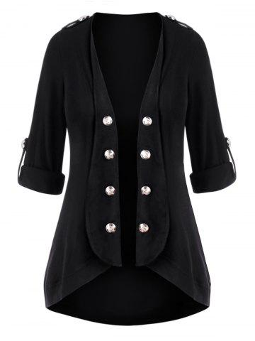 Plus Size Open Front Roll Up Sleeve Mock Button Cardigan - BLACK - L