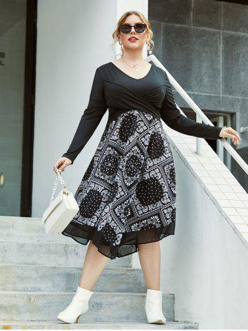 Plus Size Paisley Front Cross A Line Dress