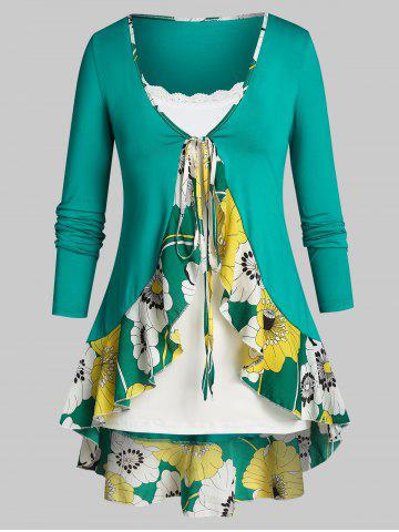 Plus Size Flower Flounce Tunic Tie Blouse and Slim Cami Top Set - LIGHT SEA GREEN - 5X