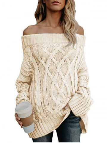 Off The Shoulder Cable Knit Chunky Sweater - WARM WHITE - XL