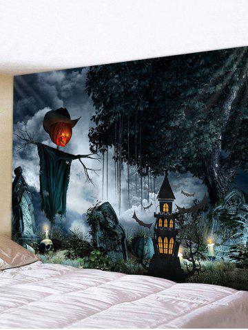 Halloween Dark Pumpkin Castle Print Wall Tapestry