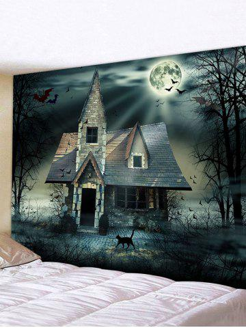 Halloween Night Bat House Print Decorative Wall Hanging Tapestry - MULTI - W91 X L71 INCH