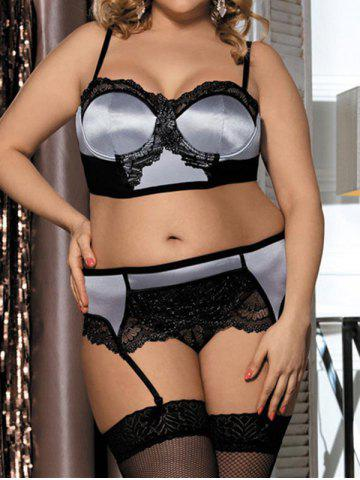 Plus Size Metallic Thread Lace Panel Mesh Underwire Bra and Garter Set - LIGHT GRAY - L