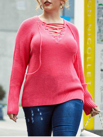 Pull Tunique Manches Raglan à Lacets Grande Taille - LIGHT PINK - 5X