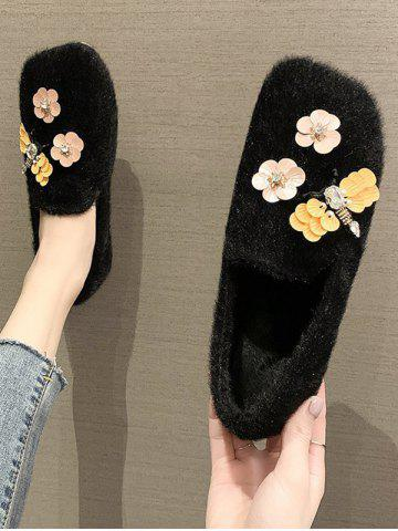 Flower Pattern Plush Flat Shoes - BLACK - EU 38