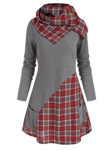 Pocket Plaid Insert Knitwear with Button Scarf
