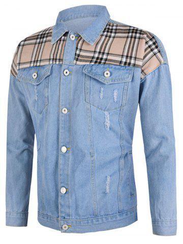Plaid Patch Ripped Flap Pocket Jean Jacket - LIGHT BLUE - 3XL