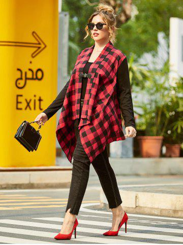 Shawl Collar Plaid Buckle Front Plus Size Coat