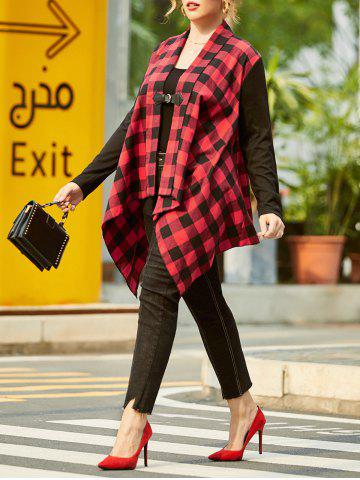 Shawl Collar Plaid Buckle Front Plus Size Coat - RED - 5X