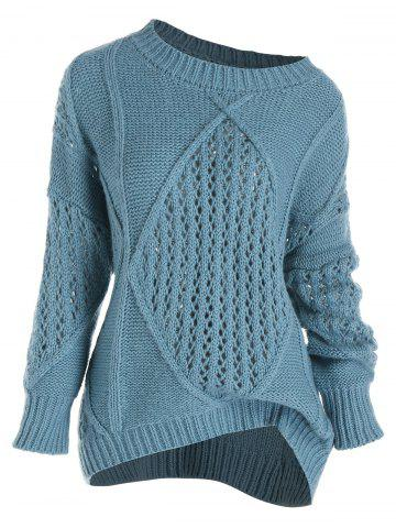 Plus Size Open Chunky Knit Drop Shoulder Sweater - BLUE - 5X