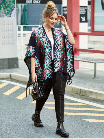 Plus Size Fringed Open Front Tribal Cardigan