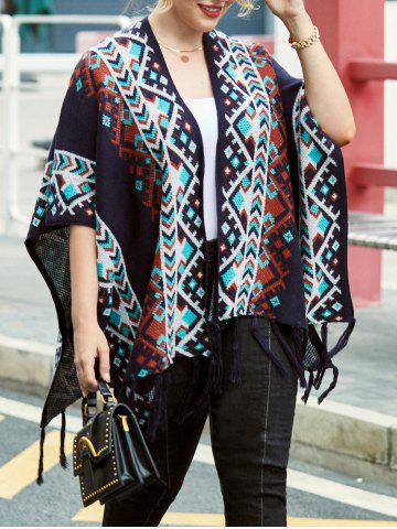 Plus Size Fringed Open Front Tribal Cardigan - BLACK - L