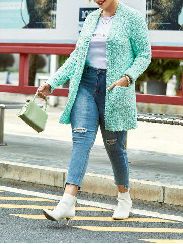 Plus Size Pockets Open Front Boucle Knit Cardigan - LIGHT GREEN - 1X