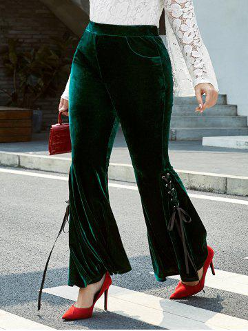 Plus Size Velvet Lace-up High Rise Pocket Bell Pants - DEEP GREEN - 4X