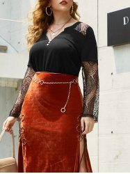 Plus Size Lace Insert Halloween Top -