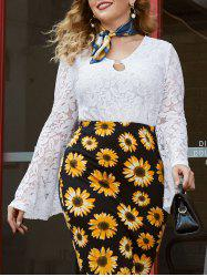 Plus Size Bell Sleeve O Ring Lace Blouse -