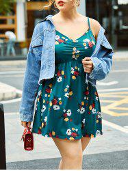 Gathered Mock Buttons Floral Plus Size Cami Top -