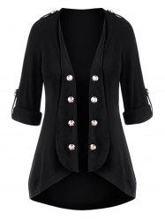 Plus Size Open Front Roll Up Sleeve Mock Button Cardigan -