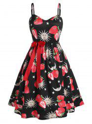 Plus Size Bowknot Strawberry Sun and Moon Print Dress -