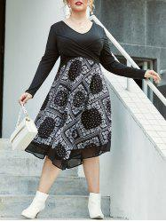 Plus Size Paisley Front Cross A Line Dress -