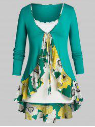 Plus Size Flower Flounce Tunic Tie Blouse and Slim Cami Top Set -