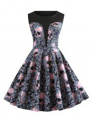 Halloween Skulls Flower Printed High Waisted Retro Dress -