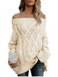 Off The Shoulder Cable Knit Chunky Sweater -