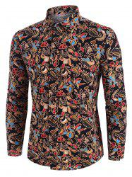 Floral Print Ethnic Style Long Sleeve Shirt -