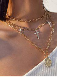 3Pcs Cross Rhinestone Engraved Pendant Necklace Set -