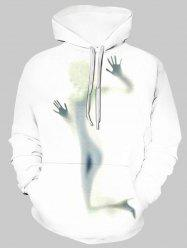 Girl Shadow Graphic Front Pocket Casual Hoodie -
