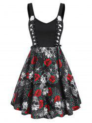 Halloween Skull Flower Spider Web Lace Up Dress -