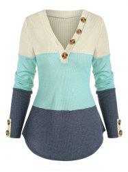 Buttons Colorblock V Neck Knitwear -