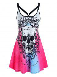 Halloween Skull Flower Print Sleeveless Harness Insert Dress -