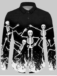 Halloween Skeleton Fire Print Button Up Shirt -