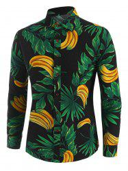 Leaf Banana Print Button Up Leisure Shirt -