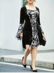 Plus Size Floral Lace Up Flare Sleeve Dress -