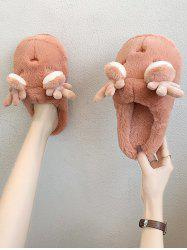 Winter Cartoon Antler Plush Flat Slippers -