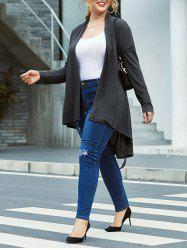 Plus Size Marled Collarless Belted Tunic Wrap Cardigan -