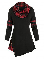 Mock Button Plaid Print Asymmetrical T-shirt -