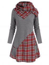 Pocket Plaid Insert Knitwear with Button Scarf -