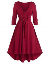 Plus Size Scalloped Lace-up Cuffed Sleeve High Low Dress -