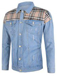 Plaid Patch Ripped Flap Pocket Jean Jacket -