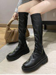 Knee Length Round Toe Casual Platform Boots -