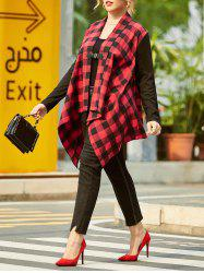 Shawl Collar Plaid Buckle Front Plus Size Coat -