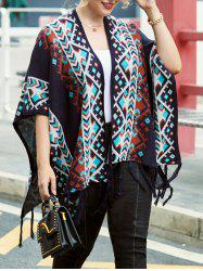 Plus Size Fringed Open Front Tribal Cardigan -