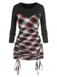 Plus Size Plaid Print Colorblock Cinched T Shirt -