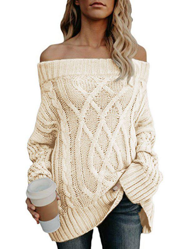 Fashion Off The Shoulder Cable Knit Chunky Sweater