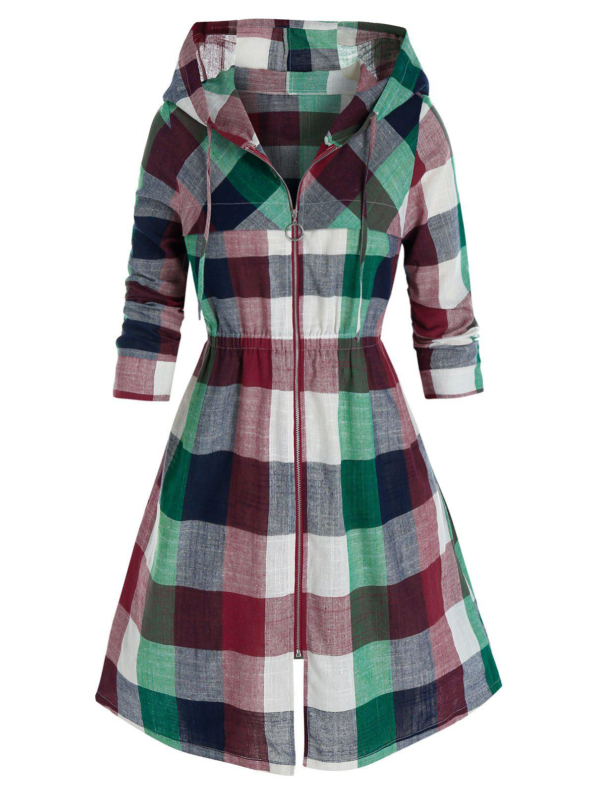 Outfits Plus Size Madras Plaid Hooded Elastic Waist Zipper Coat