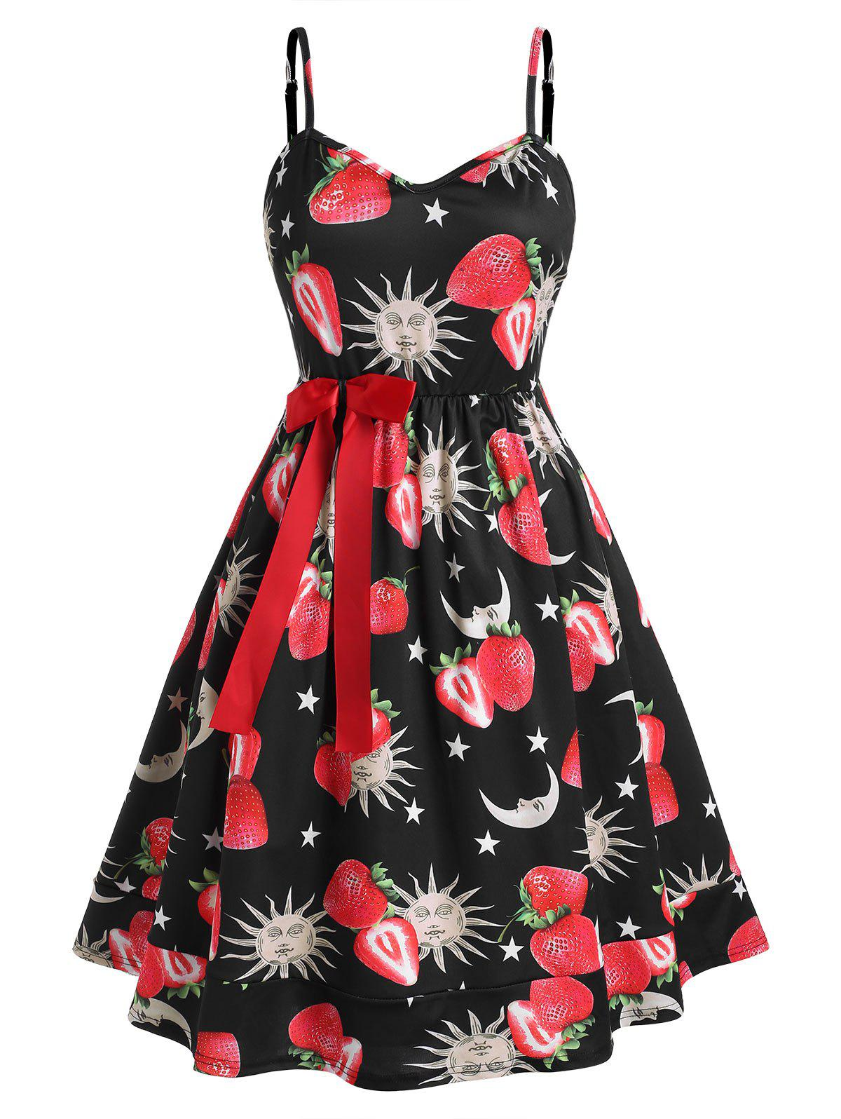 Buy Plus Size Bowknot Strawberry Sun and Moon Print Dress